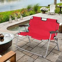 Global Supplies 2 Person Folding Camping Bench Portable Double Chair (Red) - $90.08