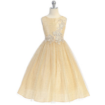 Gold Sequins Floral Embroidery Shiny Metallic Mesh Flower Girl Dress - $52.95