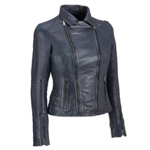 Popular Racer Girl With Collar Hot Women's Genuine Lambskin Leather Bike... - $149.00