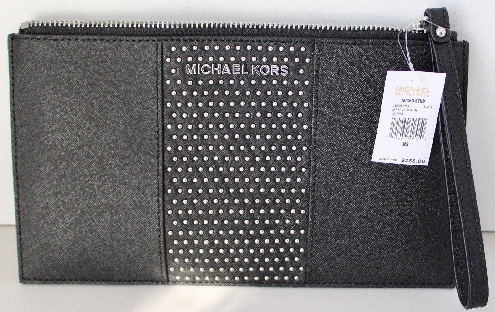 b9716c5f0e5f ... where to buy nwt michael kors saffiano jet set travel micro stud lg zip  clutchblack 14e8f