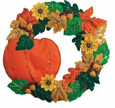 """Fall Wreath, 16"""" x 15"""", Felt Applique Kit- 86831 **NEW for 2017** - $32.99"""