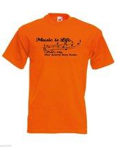 Mens T-Shirt Quote Music is Life Inspirational Text Shirts Motivational Shirt - $24.74