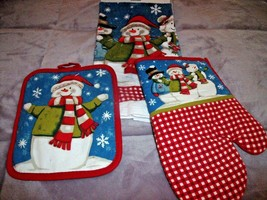 NEW Winter SNOWMAN Kitchen TOWEL POTHOLDER & OVEN MITT Set Red Check - $14.95
