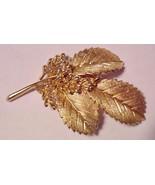 Crown Trifari Leaf Pin Brooch Gold Tone Metal Excellent! Vintage Signed  - $29.95