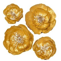 Ling's moment Paper Flowers Decorations, 4 X Gold Handcrafted Peonies, L... - $24.65