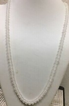 """Vintage  signed Japan milk glass knotted beaded necklace 30"""" - $13.86"""