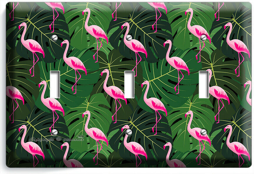 PINK FLAMINGO GREEN TROPICAL LEAVES 3 GANG LIGHT SWITCH WALL PLATE ROOM HD DECOR