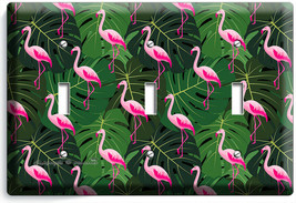 PINK FLAMINGO GREEN TROPICAL LEAVES 3 GANG LIGHT SWITCH WALL PLATE ROOM ... - $17.99