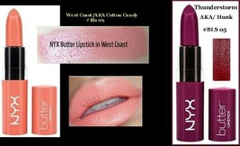 New & Sealed Lot of 3 NYX Butter Lipstick Satin Finish Thunderstorm  Wes... - $12.75