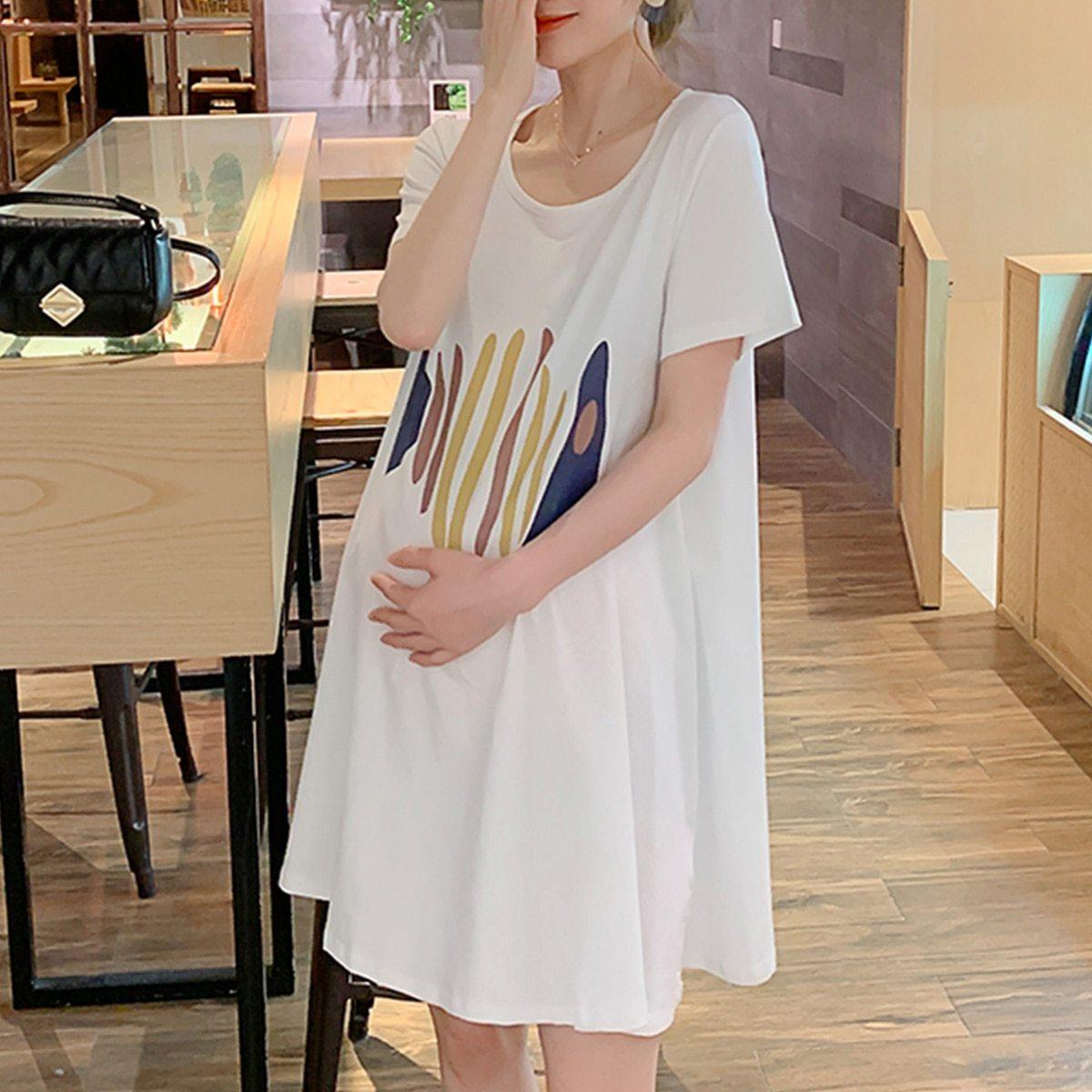 Maternity Dress Cartoon Simple Short Sleeve Loose Comfy Dress image 3