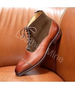Handmade Tan Leather Two Tone Formal Custom Made Dress Boots - $169.99+