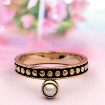 Shine Jewel 925 Silver Vintage Classical Handmade Round Pearl Ring For W... - $12.46