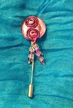 Purple Swirl Glass Stick Pin Handmade - $5.00