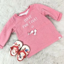 H & M Baby Girl Top Pink Drawstring Waist Have A Nice Day Size 4 6 Months - $6.79