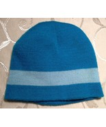 REVERSIBLE turquoise & white WARM striped knit baby hat NEW - $5.99