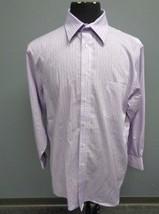 JOSEPH ABBOUD Purple Blue Striped Button Front Dress Shirt Sz 16.5-32/33... - $36.93 CAD