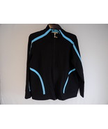 WOMEN'S JOGGING JACKET TALBOT'S Petite X Zip Up JOGGER Black w/ Aqua Str... - $21.77
