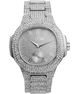 Bling-ed Out Oblong Case Metal Mens Watch - 8475 - Silver/Silver - $69.79
