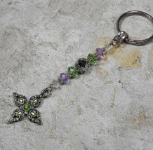 Cross Crystal Beaded Handmade Keychain Split Key Ring Green Lavender Silver - $16.48