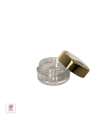 25 Cosmetic Jars Plastic Beauty Containers Gold Trim Acrylic Caps 5 Gram... - $22.95