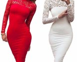 Bodycon dress turtleneck long sleeve floral lace women bodycon dress 1232358080543 thumb155 crop