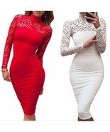 Ess bodycon dress turtleneck long sleeve floral lace women bodycon dress 1232358080543 thumbtall