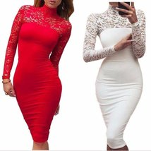 Turtleneck Long Sleeve Floral Lace Women Bodycon Dress - $25.58