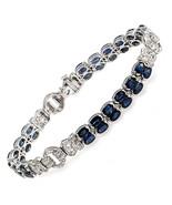 12.22 CT Natural Blue Sapphires & 0.72 CT Diamonds 18K White Gold Bracel... - $3,856.05