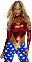 Forplay Metallic Sexy Wonder Woman Super Hero Costume with Star-Spangled Legs
