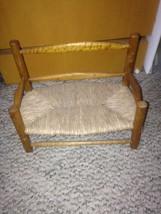 Vintage antique wooden woven thrush loveseat Bench Doll Furniture  - $19.80