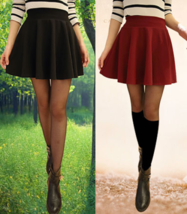 Womens Basic Versatile Stretchy Flared Skater Skirt - Made in USA - $13.09