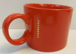 2017 Starbucks Coffee Cup Solid Red Tea Mug Gold Logo Wide 12 fl oz 354 ml - $4.40