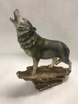 Howling wolf on tree Resin figurine 13 inch tall Western southwestern Co... - $17.36