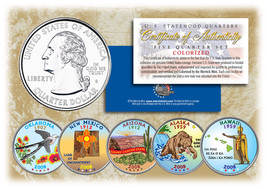 2008 US Statehood Quarters COLORIZED Legal Tender 5-Coin Complete Set w/... - $12.82