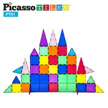 PicassoTiles 61 Piece Educational Magnetic Building Block Magnet Tile Se... - $35.00
