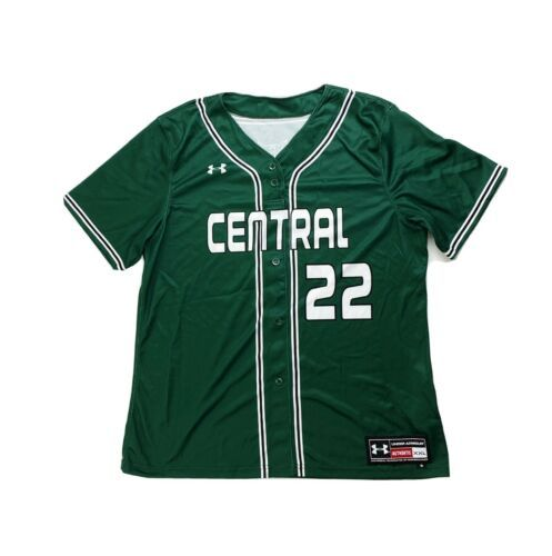Primary image for Under Armour Central Tigers Baseball Henley SS Jersey Boy's L XXL Green