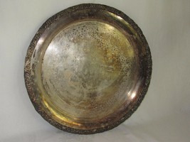 "Vintage Webster Wilcox International Silver Tray 15"" Round Silverplate - $19.79"