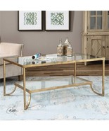 MEDITERRANEAN ANTIQUED GOLD LEAF METAL COFFEE TABLE TEMPERED GLASS TOP &... - $655.60