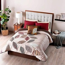 Light and Brown Leaves Textured Reversible Comforter Queen Size Soft and... - $160.38