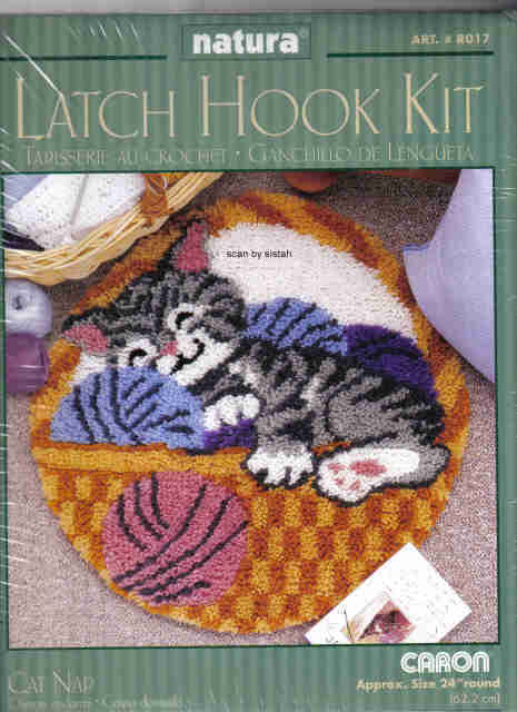 Cat Nap round Latch Hook Kit  rug yarn basket kitten craft projects MC1