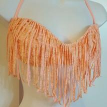 Candies Swim Bikini Padded Fringe Top Coral Gold Swimsuit Size L XL Junior - $9.99