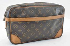 LOUIS VUITTON Monogram Compiegne 28 Clutch Bag M51845 Auth 766 [No Sticky] - $210.00