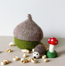 Felted acorn hedgehog and toadstool -Organic eco-friendly -waldorf toy p... - $35.90