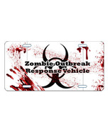ZOMBIE LICENSE PLATE CAR TAG NOVELTY PLATE OUTBREAK RESPONSE VEHICLE BLOODY - $13.21