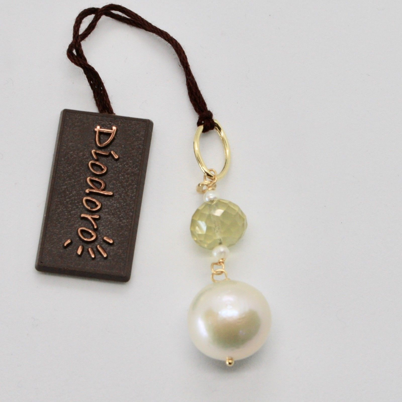 SOLID 18K YELLOW GOLD PENDANT WITH WHITE FW PEARL AND LEMON QUARTZ MADE IN ITALY