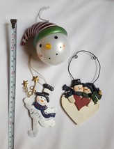 3 Snowman Christmas xmas tree holiday Ornaments pre-owned w minor defects - $14.80