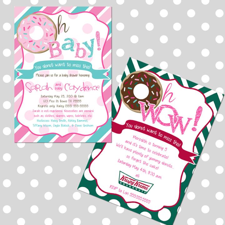 Free Birthday Krispy Kreme ~ Donut invitations baby shower bridal birthday krispy kreme announcements