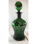 "Vintage Green Glass 7"" (9"" With Topper) Decanter - $10.20"