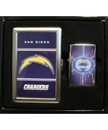 SAN DIEGO CHARGERS CIGARETTE CASE / WALLET AND LIGHTER GIFT SET NEW - $9.26