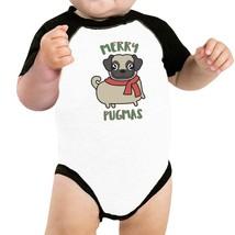 Merry Pugmas Pug Baby Black And White Baseball Shirt - $15.99